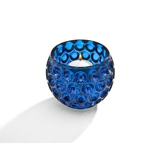Godinger Blue Glass Circle Design Votive Bowl