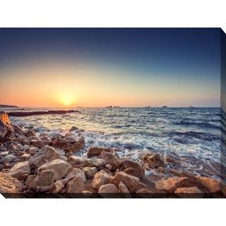 """Stones beach"" Giclee Print Canvas Wall Art"
