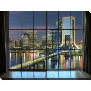 """Jacksonville, Florida, USA downtown city skyline Window"" Giclee Print Canvas Wall Art"