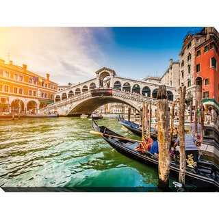 """Rialto Bridge at sunset in Venice"" Giclee Print Canvas Wall Art"