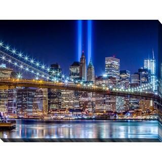 """""""World Trade Center Lights over Manhattan"""" Giclee Print Canvas Wall Art"""