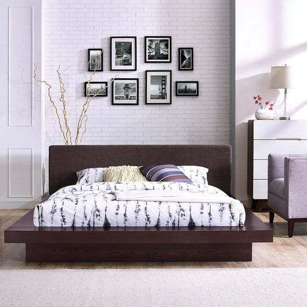 Freja Fabric Platform Bed in Cappuccino Latte. Opens flyout.