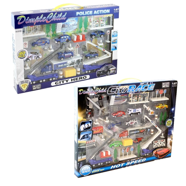 Dimple KTDC986309 Die Cast City Police Force Vehicle/City Race and Town Set with Mat