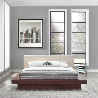 Freja Fabric Platform Bed in Walnut Beige