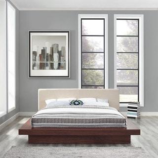 Freja Fabric Platform Bed in Walnut Beige