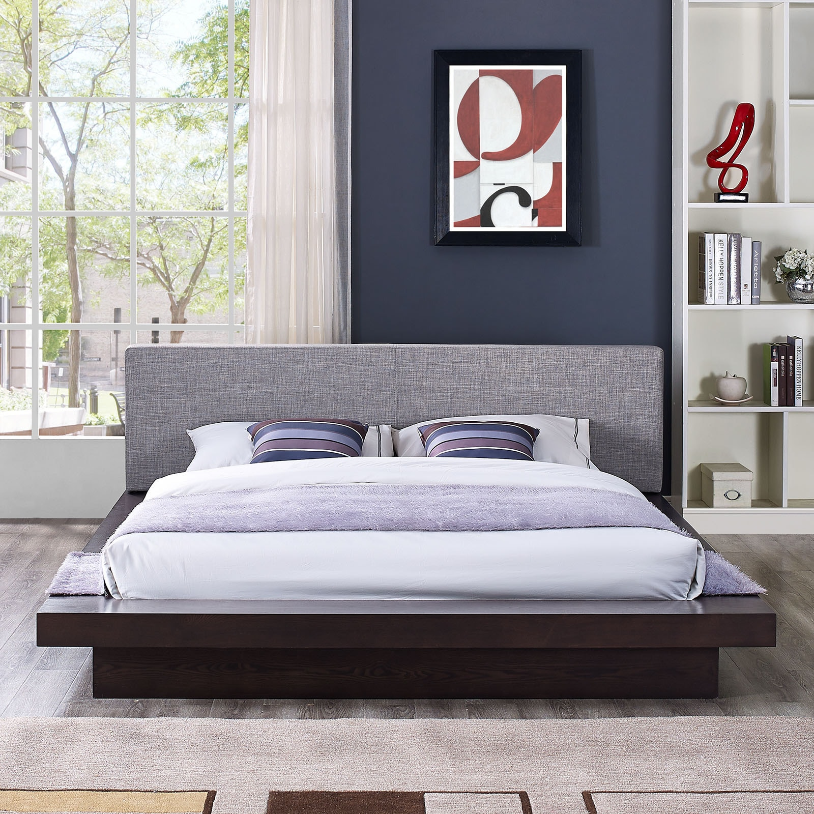 Freja Fabric Platform Queen-size Bed in Cappuccino Grey - Free ...