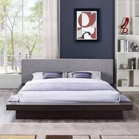 Freja Fabric Platform Queen-size Bed in Cappuccino Grey