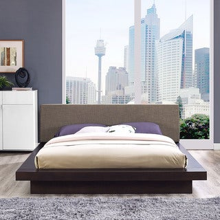 Freja Fabric Platform Bed in Cappuccino Brown