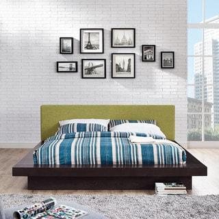Freja Fabric Platform Bed in Cappuccino Green