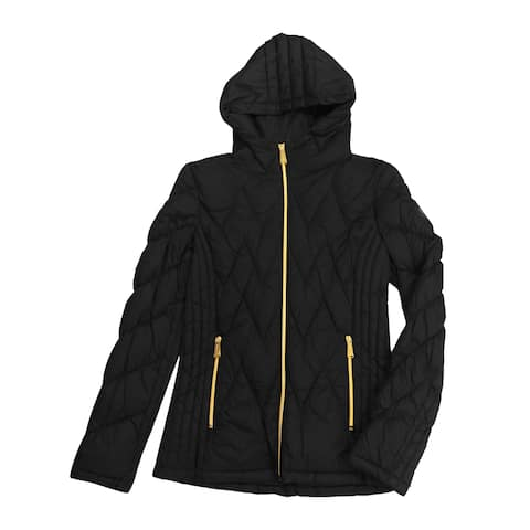 Michael Kors Black Nylon Chevron Quilted Hooded Packable Jacket