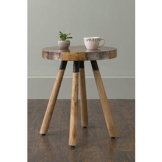 East At Main's Minden Brown Round Transitional Teakwood Accent Table