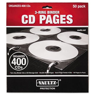 Vaultz Two-Sided CD Refill Pages for Three-Ring Binder 50/Pack