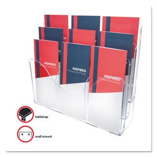 deflecto Three-Tier Document Organizer With Dividers 14-inch wide x 3 1/2-inch deep x 11 1/2h Clear