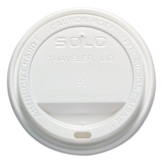 SOLO Cup Company Traveler Drink-Thru Lid 12-16-ounce Hot Cups White 50/Pack 6 Packs/Carton