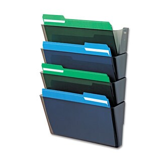 deflecto DocuPocket Four-Pocket Wall Set Plastic Letter 13 x 4 x 7 Smoke