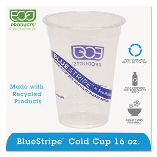 Eco-Products BlueStripe 25-percent Recycled Content Cold Cups 16-ounce Clear/Blue 50/Pack 20 Pack/Carton