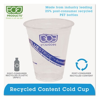 Eco-Products BlueStripe 25-percent Recycled Content Cold Cups 12 oz Clear/Blue 50/Pack 20 Pack/Carton