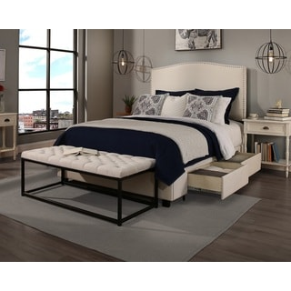 Republic Design House Queen Size Newport Ivory Headboard, Storage Bed and Wide Tufted Flat Bench Collection