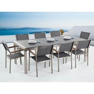 Grosseto Grey Granite Outdoor Dining Set with 8 Fabric Chairs