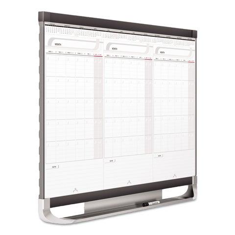 Quartet Prestige 2 Connects Total Erase 3-Month Calendar 36 x 24 White Graphite Frame