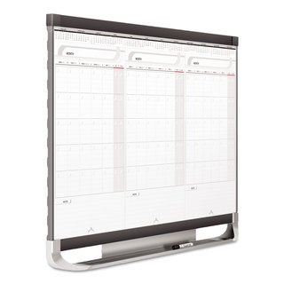 Quartet Prestige 2 Connects Total Erase 3-Month Calendar 36 x 24 White Graphite Frame