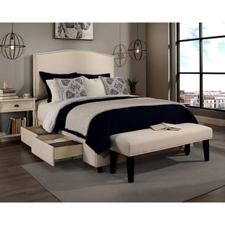 Republic Design House King/Cal King Size Newport Ivory Headboard, Storage Bed and Bench Collection