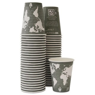 Eco-Products World Art Renewable Hot Cups 12 oz Grey 50/Pack 10 Pack/Carton