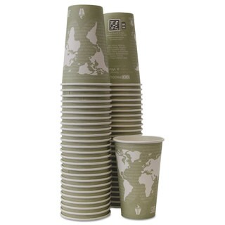 Eco-Products World Art Hot Cups 16 oz Moss 50/Pack 10 Pack/Carton