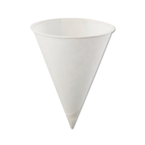 Konie Poly-Bag Rolled-Rim Paper Cone Cups 4oz White 5000/Carton