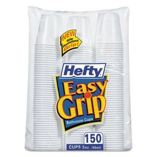 Hefty Easy Grip Disposable Plastic Bathroom Cups 3oz White 150/Pack 12 Pks/Carton