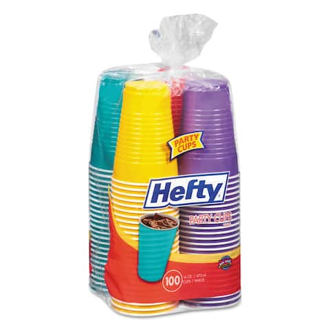 Hefty Easy Grip Disposable Plastic Party Cups 16-ounce Assorted 100/Pack 4 Pack/Carton