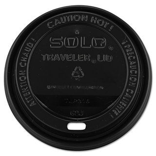 SOLO Cup Company Traveler Drink-Thru Lids 10-24-ounce Cups Black 100/Sleeve 10 Sleeves/Carton