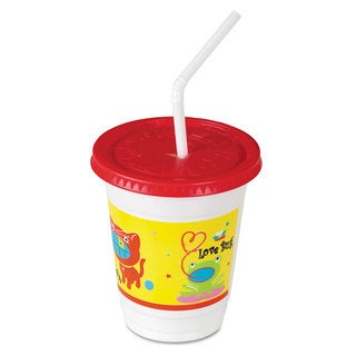 SOLO Cup Company Plastic Kids' Cups with Lids/Straws 12 -ounce Critter Print 250/Carton