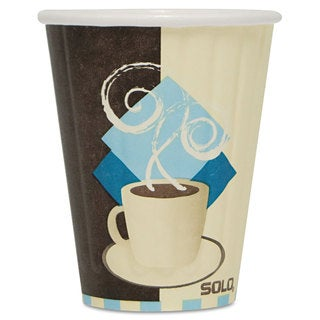SOLO Cup Company Duo Shield Insulated Paper Hot Cups 8oz Tuscan Chocolate/Blue/Beige 1000/Carton