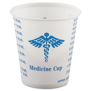 SOLO Cup Company Paper Medical & Dental Graduated Cups 3oz White/Blue 100/Bag 50 Bags/Carton