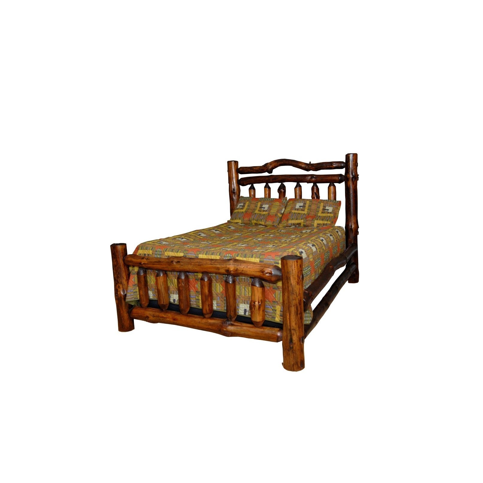 Rustic Pine Log Double Top Rail Bed - Michael\'s Cherry Stain
