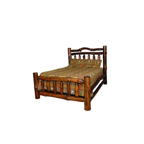 Rustic Pine Log Double Top Rail Bed - Michael's Cherry Stain