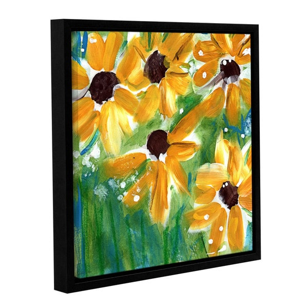 Linda Woods's 'Sunflowers' Gallery Wrapped Floater-framed Canvas