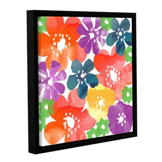 Linda Woods's 'Bold Flowers' Gallery Wrapped Floater-framed Canvas