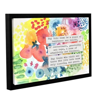Linda Woods's 'Jewish Home Blessing Floral' Gallery Wrapped Floater-framed Canvas - Multi