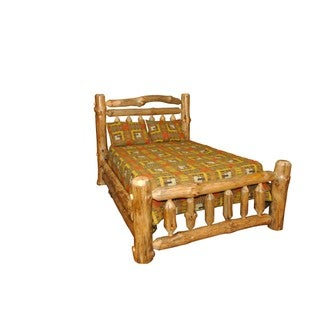 Rustic Pine Log Double Top Rail Bed
