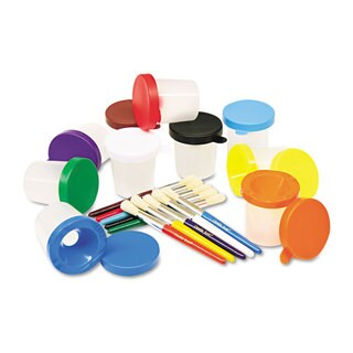 Creativity Street No-Spill Cups & Coordinating Brushes Assorted Colors 10/Set
