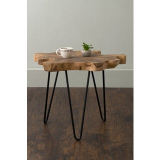 East At Main's Lovilla Brown Round Teakwood Accent Table
