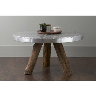 East At Main's Loyal Silver Round Transitional Teakwood Coffee Table