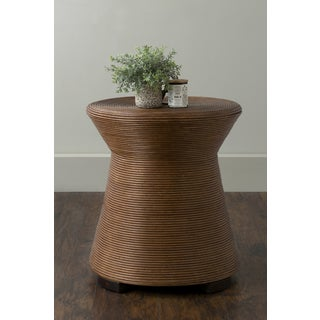 East At Main's Durand Brown Round Transitional Rattan Accent Table