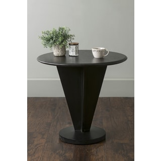 East At Main's Hollis Black Round Contemporary Teakwood Accent Table
