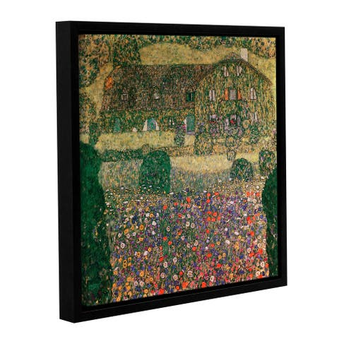 Gustav Bridgeman Klimt's 'Country House by The Attersee, 1914' Gallery Wrapped Floater-framed Canvas - Green