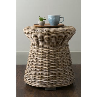 East At Main's Akiman Brown Round Transitional Rattan Accent Table