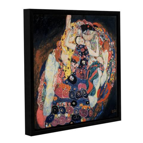 Gustav Bridgeman Klimt's 'The Maiden, 1913' Gallery Wrapped Floater-framed Canvas - Black