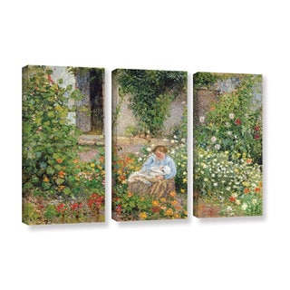 Camille Pissarro's 'Mom and Child In The Flowers, 1879' 3 Piece Gallery Wrapped Canvas Set